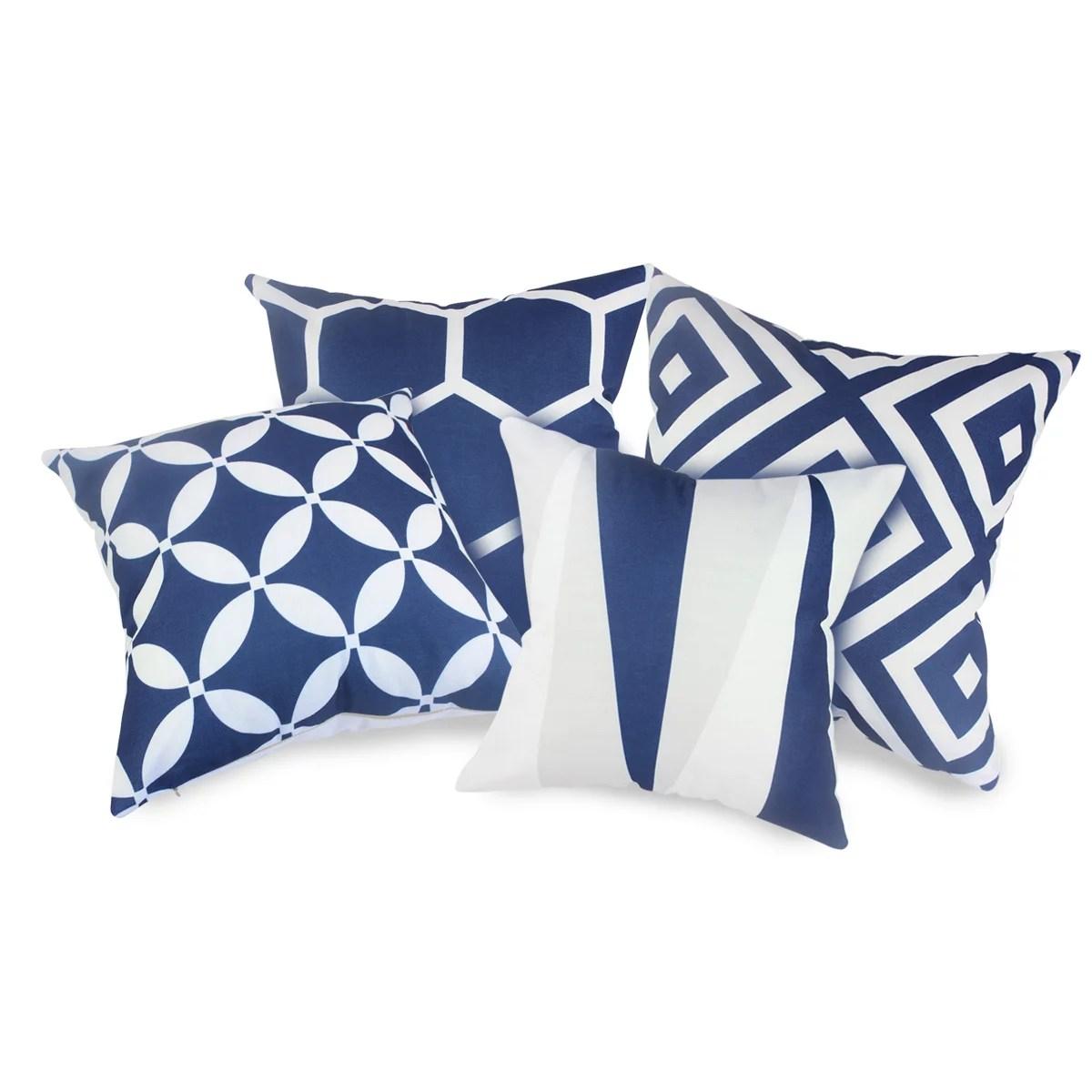 tayyakoushi 4 packs navy blue throw pillows home decor design pillow covers for living room square cushion covers 18 inch throw pillow case for home