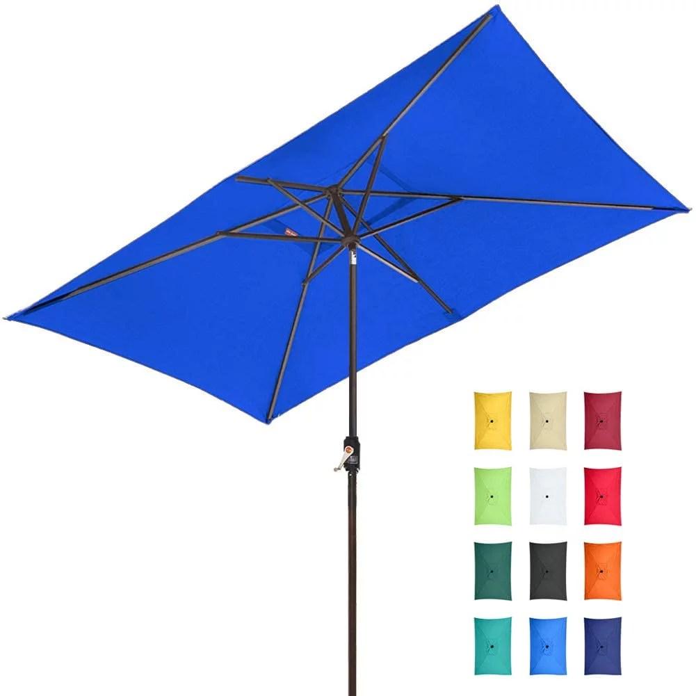 eliteshade sunbrella 10x6 5 ft rectangular market umbrella patio outdoor table umbrella with ventilation and 5 years non fading top royal blue