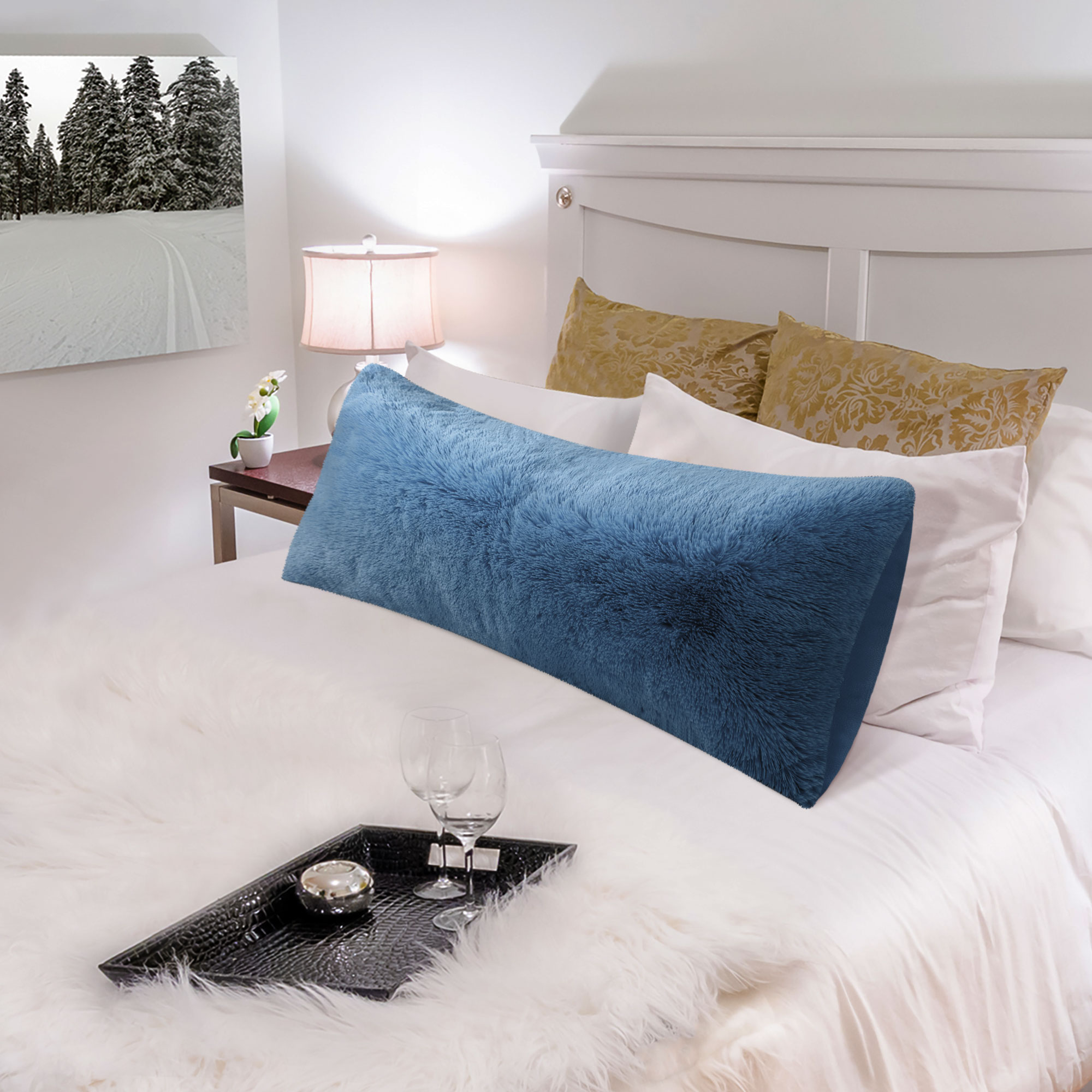 piccocasa 1 pack soft faux fur body pillow cover with zipper grey 20 x48