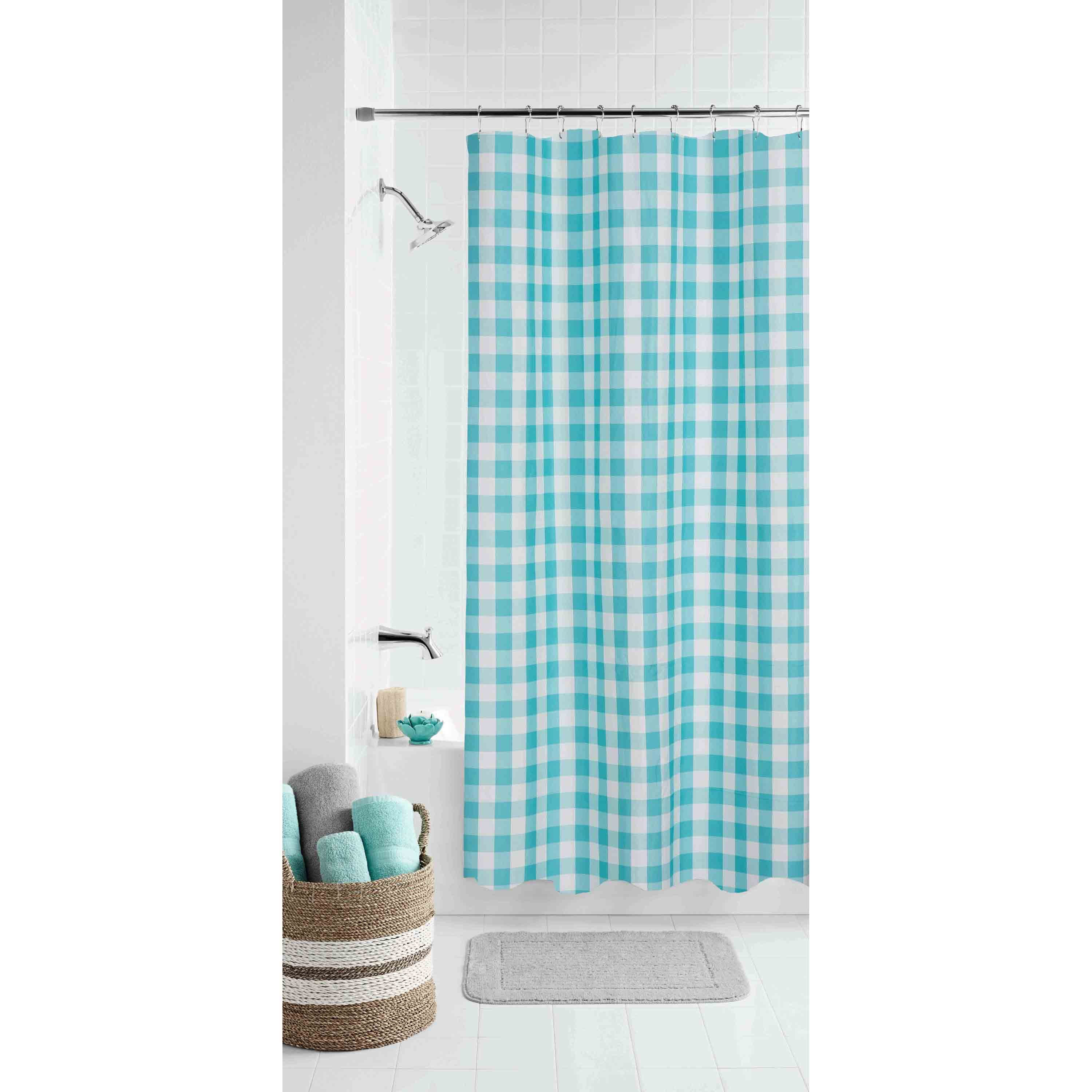 mainstays teal gingham polyester shower curtain 70x72