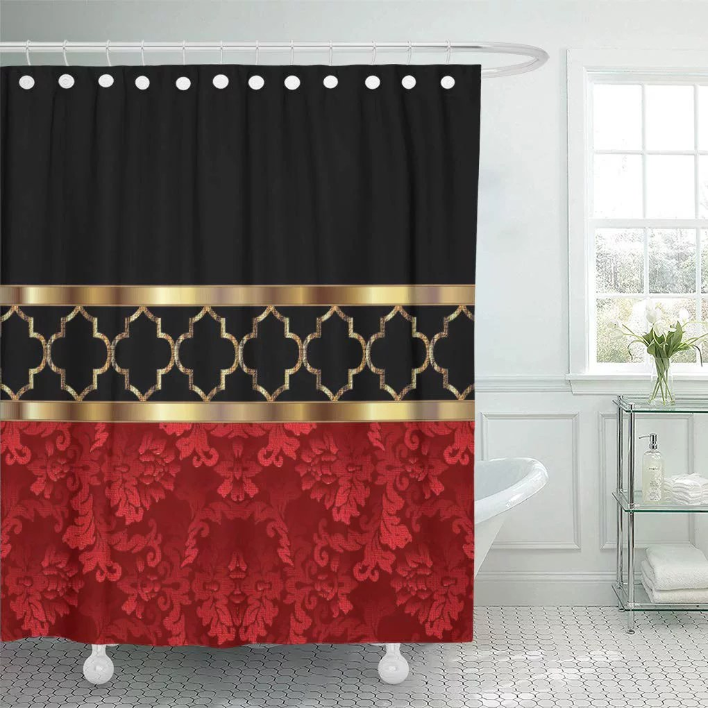 suttom lattice elegant red black gold quatrefoil geometric moroccan contemporary shower curtain 66x72 inch