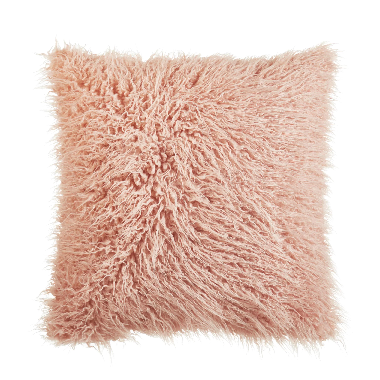 better homes gardens mongolian faux fur pillow 22 x 22 blush walmart com