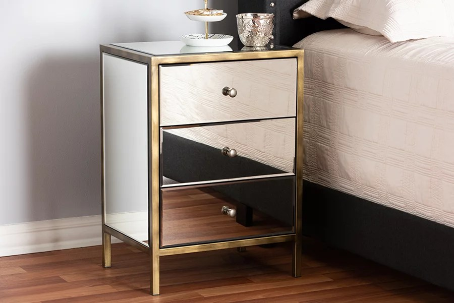baxton studio nouria modern and contemporary hollywood regency glamour style mirrored 3 drawer nightstand bedside table