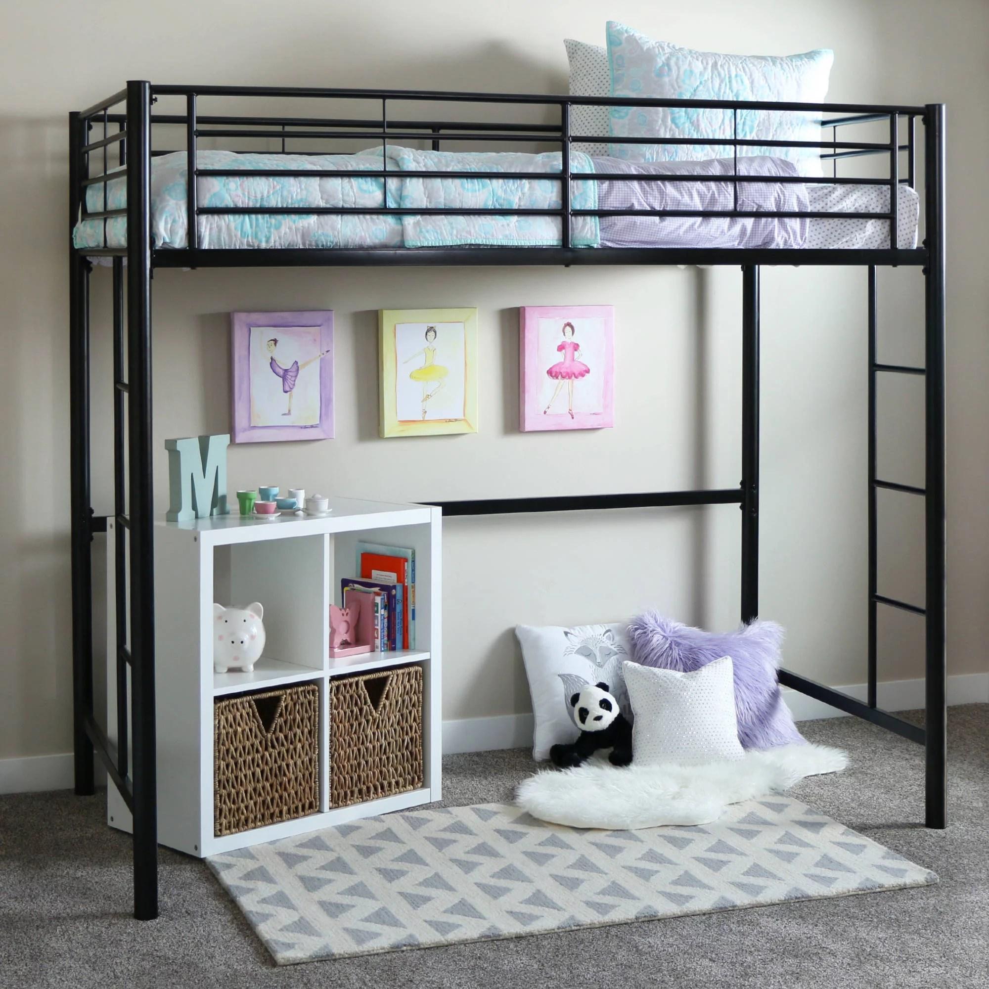 Premium Twin Metal Loft Bed By Manor Park Walmart Com Walmart Com