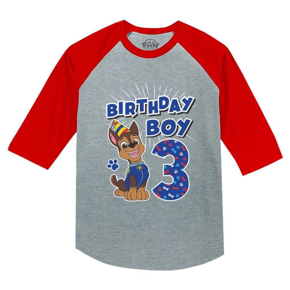 Tstars Boys 3rd Birthday Gift Birthday Gift For 3 Year Old Paw Patrol Chase Birthday Shirts For Boy Graphic Tee Boys B Day Birthday Party 3 4 Sleeve Baseball Jersey Toddler Shirt