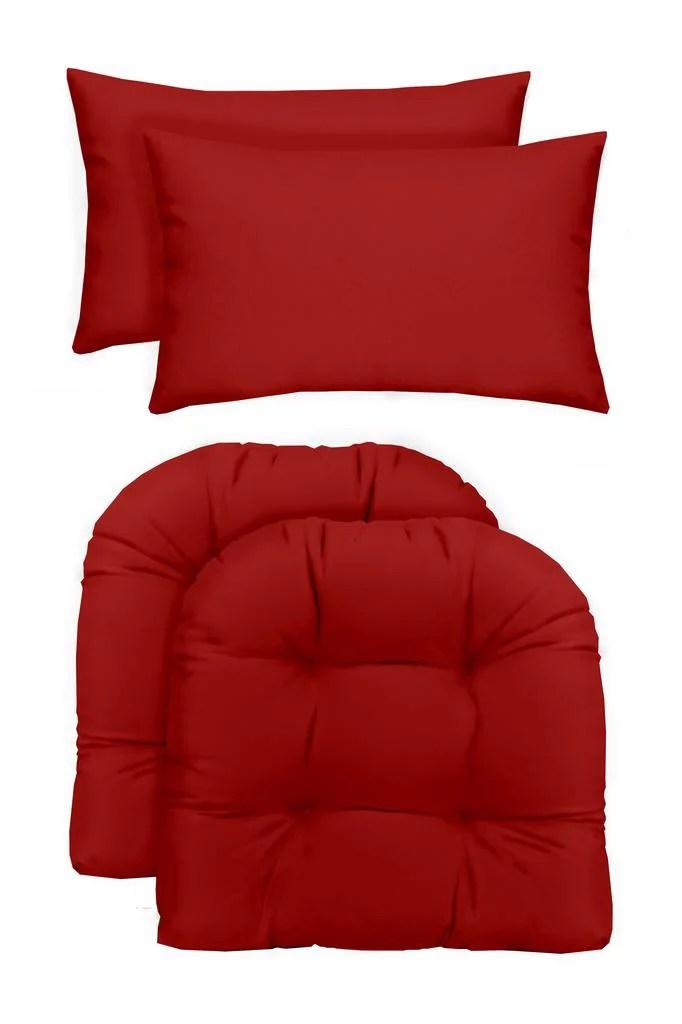 rsh decor indoor outdoor 2 u shape large wicker chair cushions bonus lumbar throw pillows 2 22 x 22 cushions 2 20 x 12 pillows solid