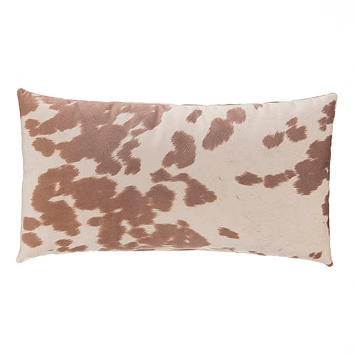 faux cowhide sueded lumbar pillow 22 x 12 tan