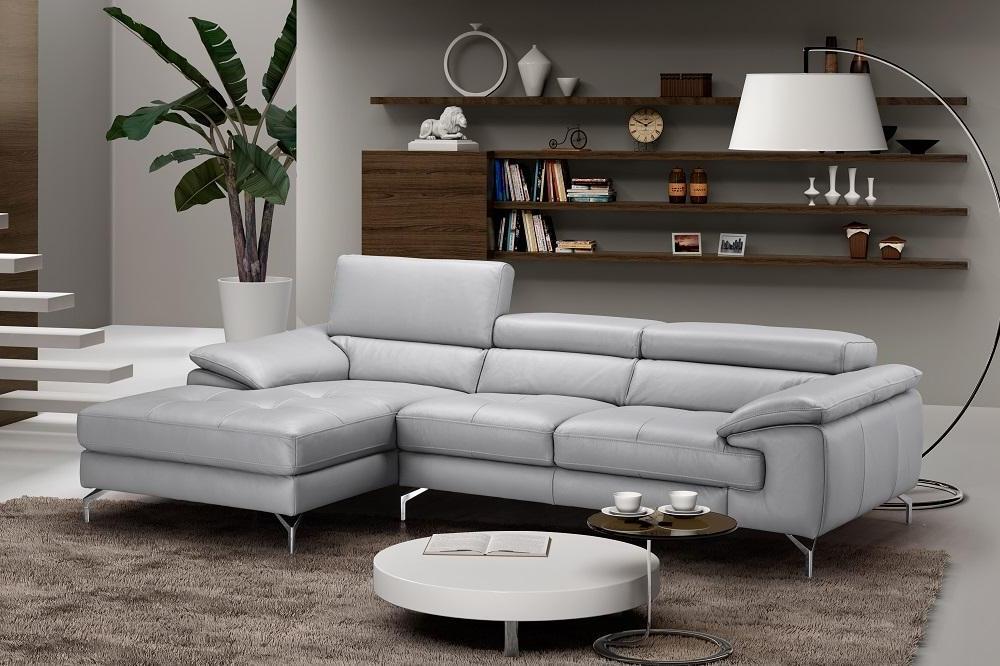 modern grey premium italian leather sectional sofa left hand chaise j m liam