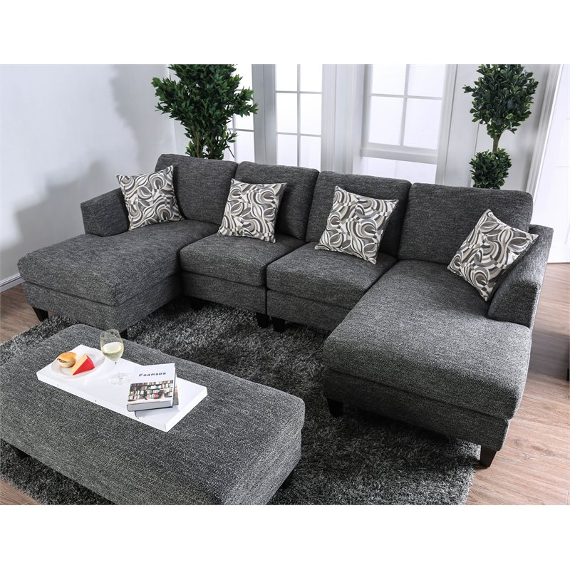 furniture of america burcham transitional chenille sectional in gray