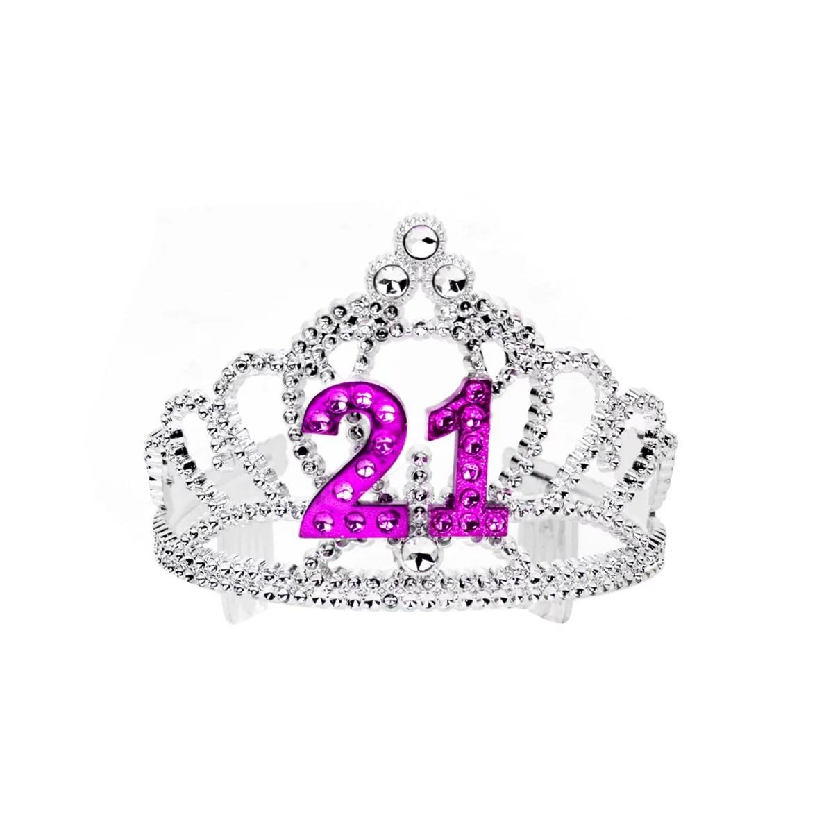 21 Twenty One Royal Happy Birthday Party Princess Tiara Glittered Sparkle Crown Walmart Com Walmart Com