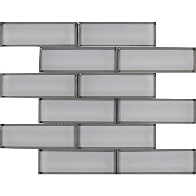 white glass mirror beveled 2 x 6 subway tile kitchen backsplash idea bath shower wall mosaics
