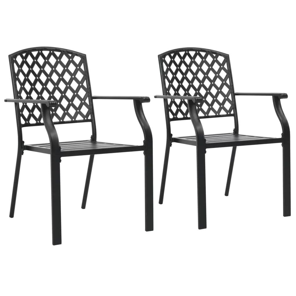 yosoo stackable outdoor chairs 2 pcs steel black