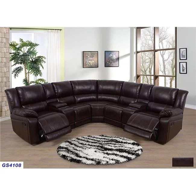 lifestyle furniture lsfgs4108 3 piece recliner sectional sofa set with 2 cup holder console with lift up storage bonded leather brown walmart com