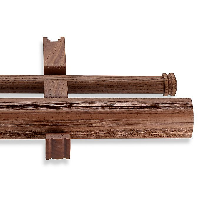 cambria estate wood 36 inch double smooth curtain rod in brown