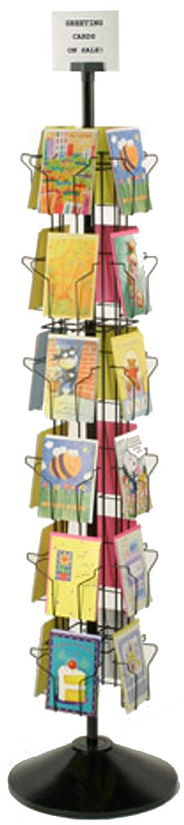 displays2go greeting card display rack with 24 5 x 7 pockets 66 tall rotating wire stand wire construction with plastic base and sign holder