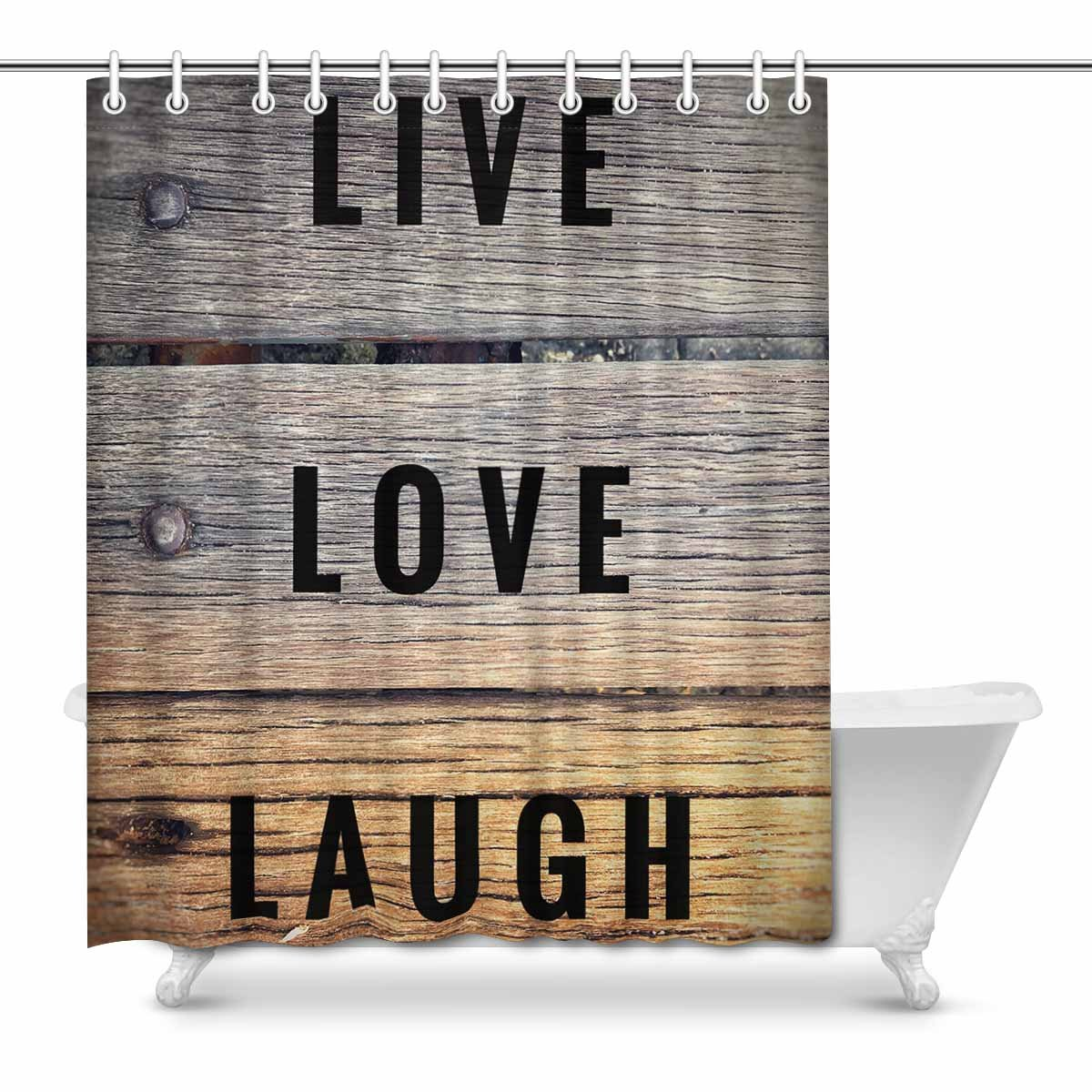 mkhert motivational and inspirational quotes live love laugh house decor shower curtain for bathroom decorative bathroom shower curtain set 66x72 inch