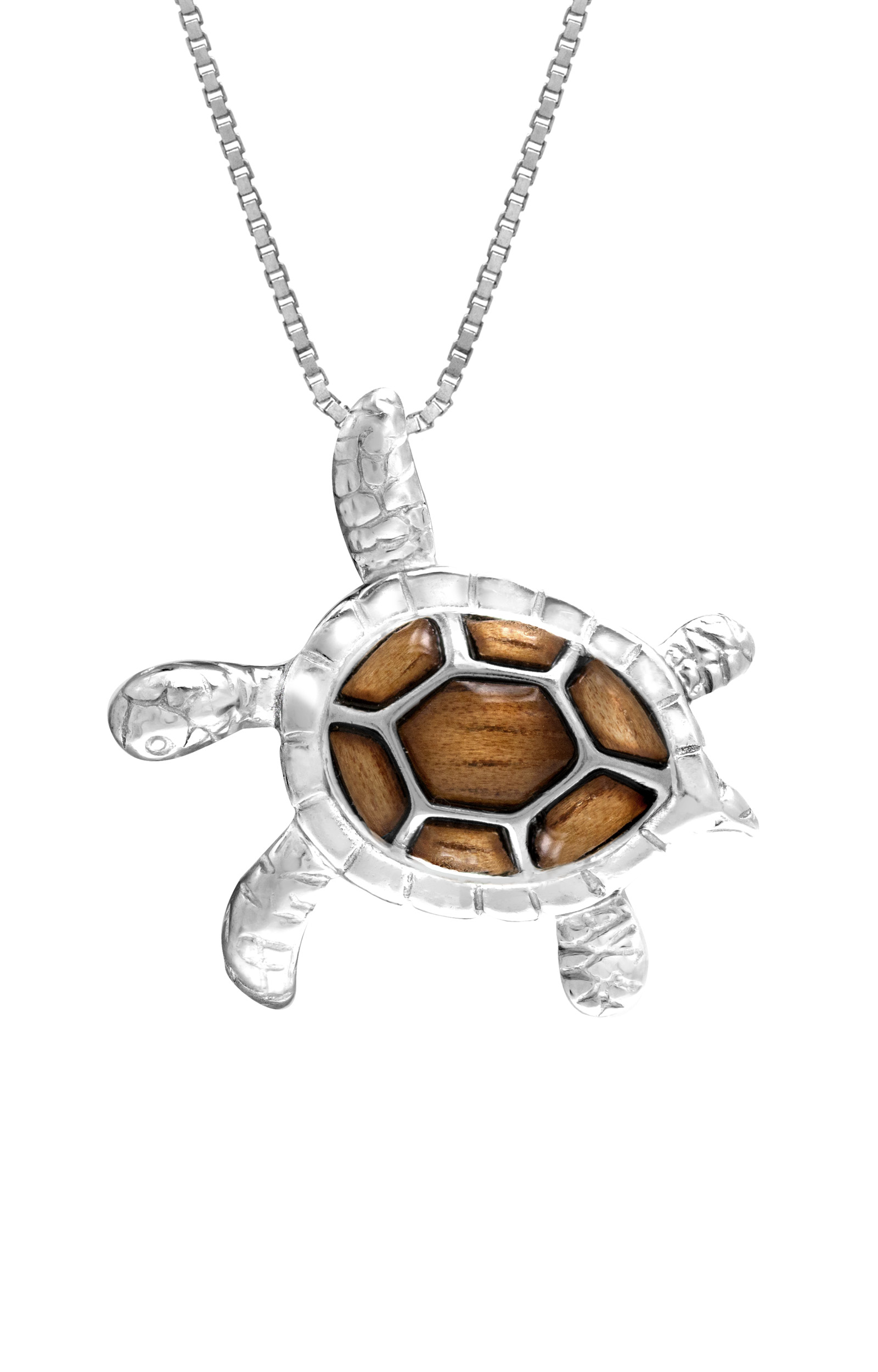 Sterling Silver Koa Wood Turtle Necklace Pendant With Box Chain