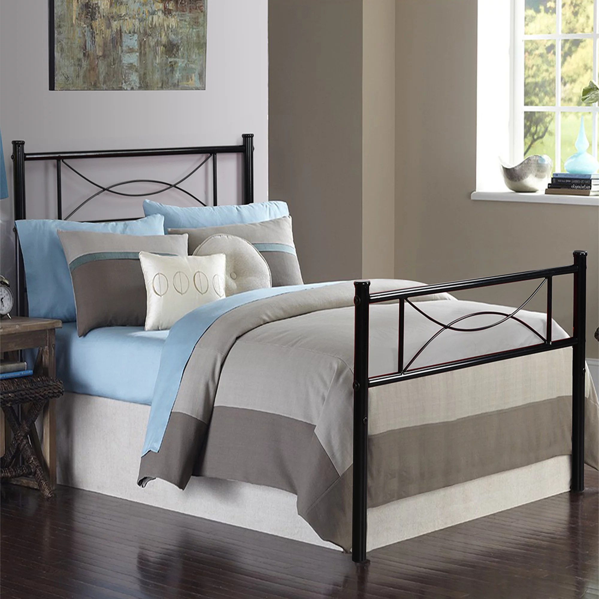Teraves 12 7 High Metal Platform Bed Frame With Two Bowknot Headboards Easy Assembly Twin Full Size Walmart Com Walmart Com