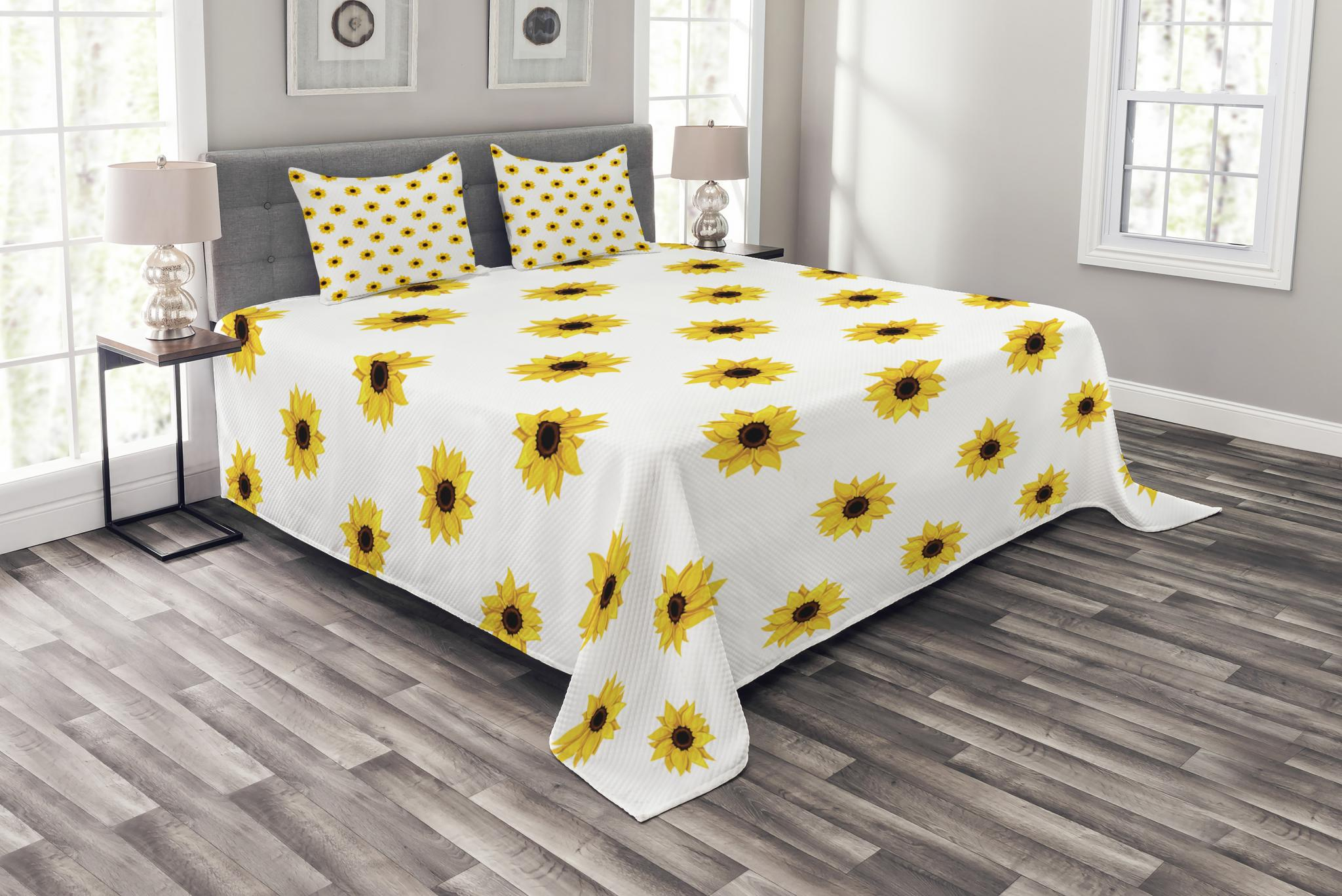 sunflower bedspread set sunflower pattern on a white background vibrant nature elements simple seasonal art decorative quilted coverlet set with
