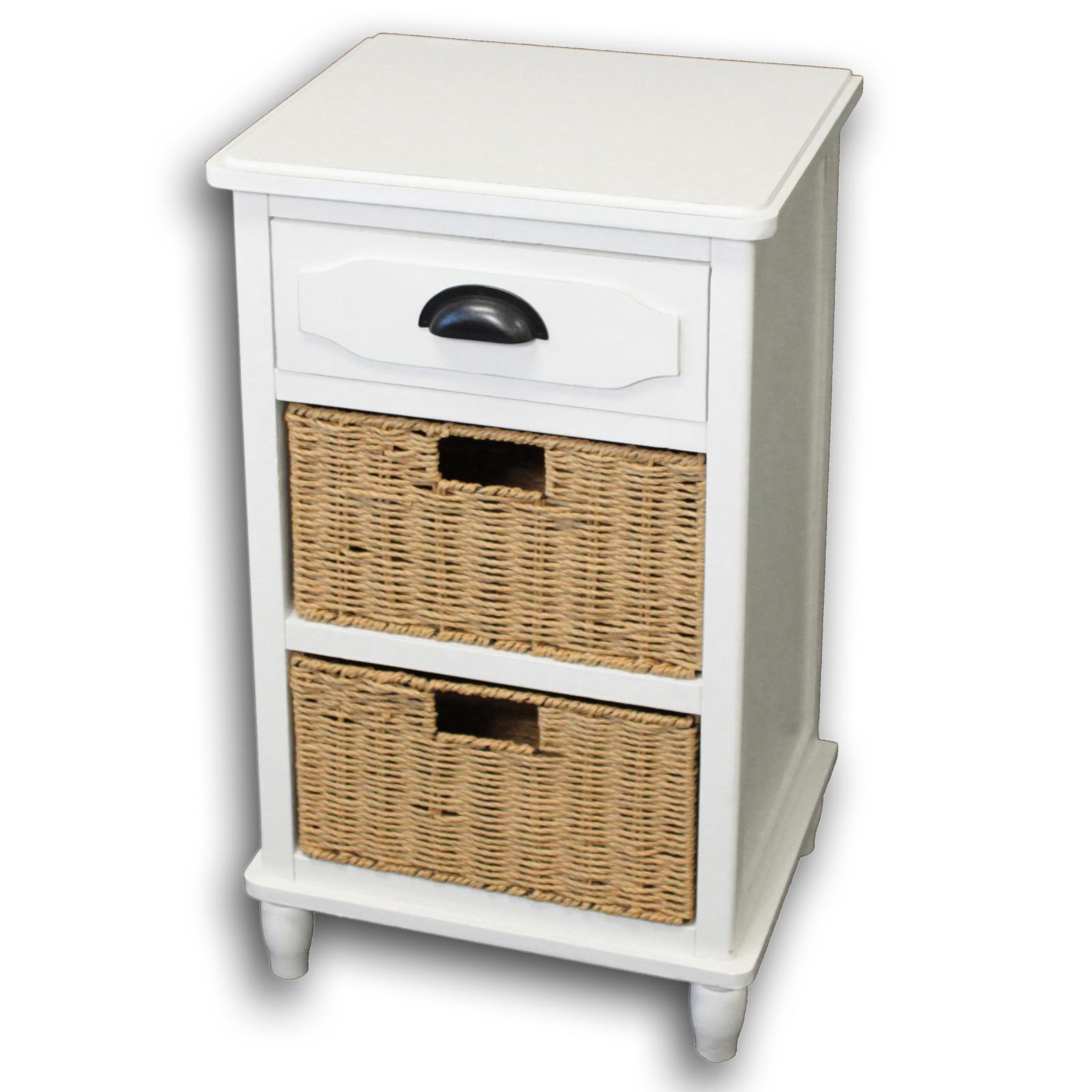 urban designs adriana 3 drawer night stand with wicker baskets white walmart com