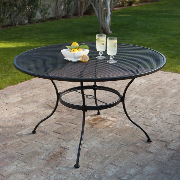 Wrought Iron Patio Furniture Round Wrought Iron Patio Dining Table by Woodard   Textured