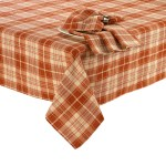 Fall Woven Tablecloth Orange Rust Plaid Highlighted With Metallic Threads 60 X 84 Oval Walmart Com Walmart Com