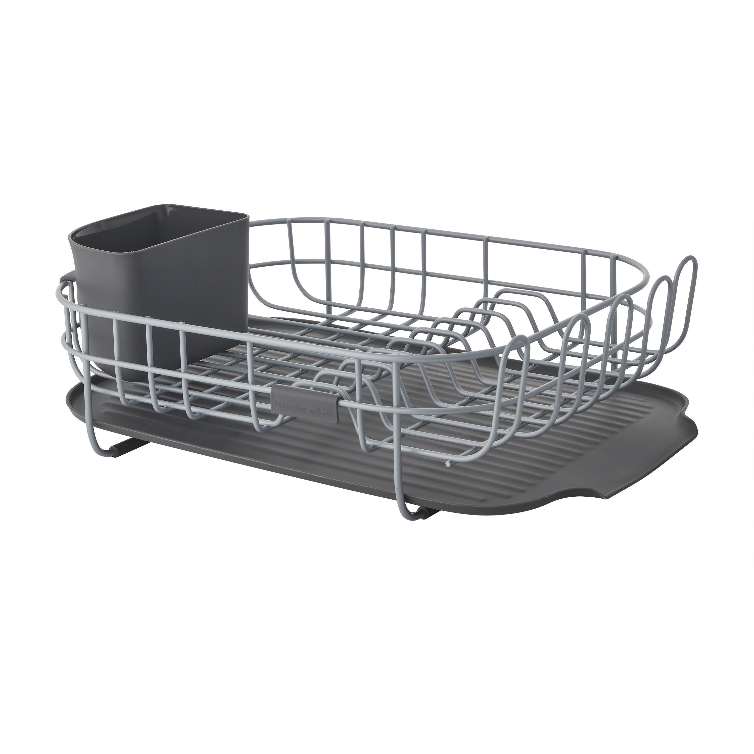 kitchenaid low profile powder coated dish drying rack in charcoal gray
