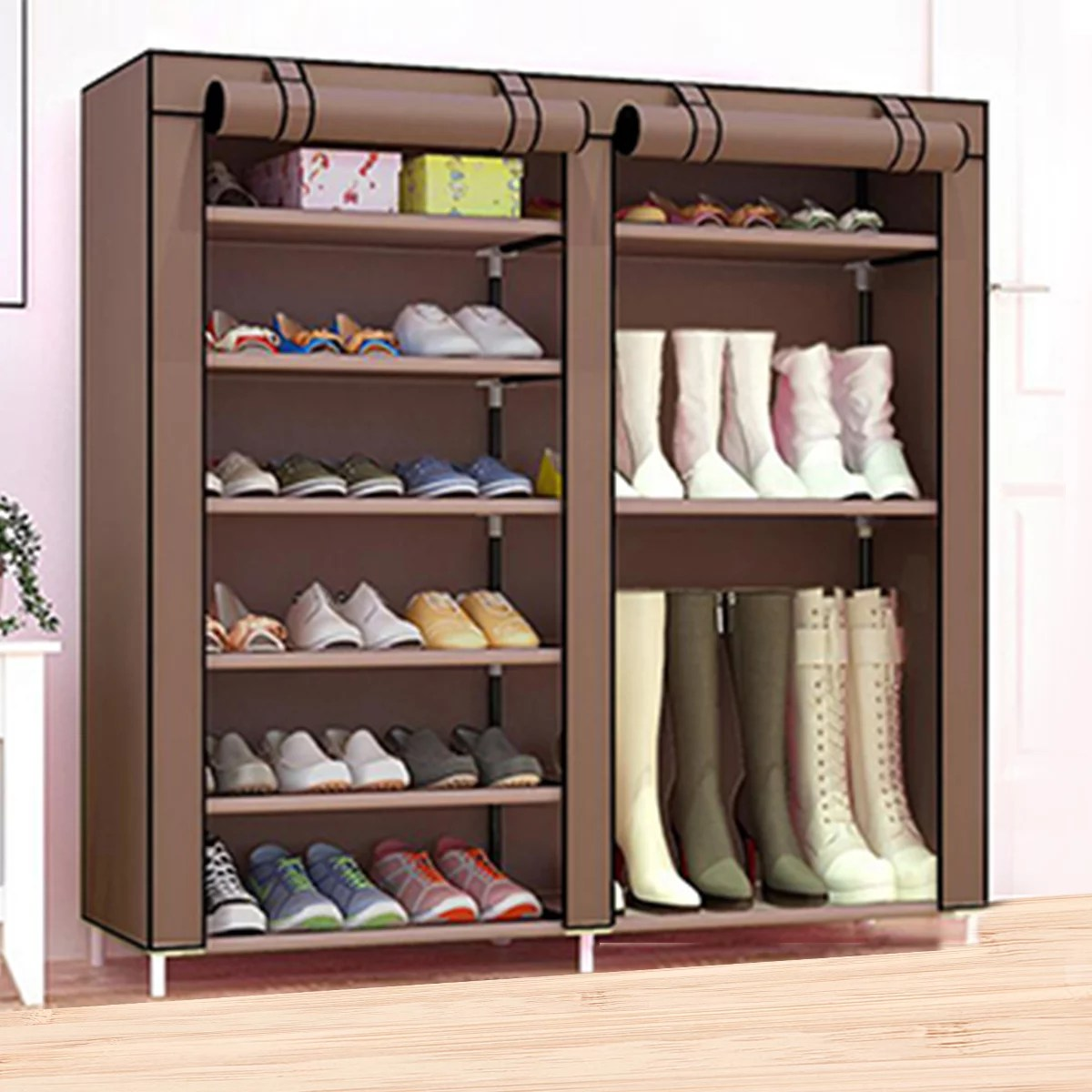 43inch h shoe rack boots storage organizer 12 tiers closet entryway shelf stackable cabinet double row non woven fabric 27 36 pairs coffee