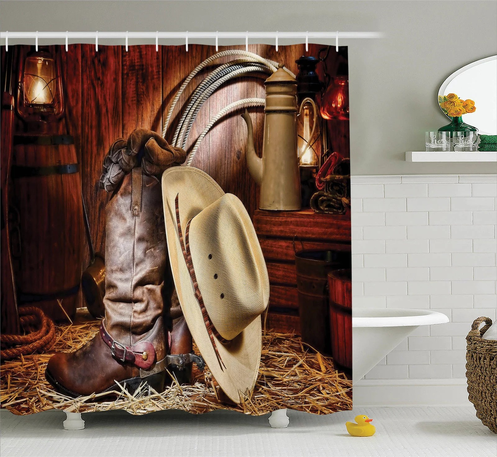 Western Decor Shower Curtain Set Authentic American West Rodeo Elements With Antique Ranching Supplies Retro Art Photo Bathroom Accessories 69w X 70l Inches By Ambesonne Walmart Com Walmart Com