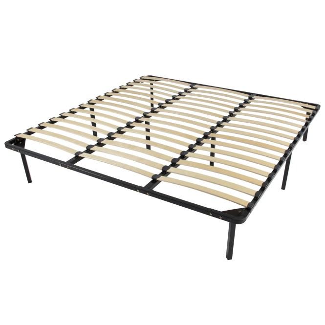 Wooden Slat Metal Bed Frame Wood Slats Platform Bedroom Mattress Foundation King