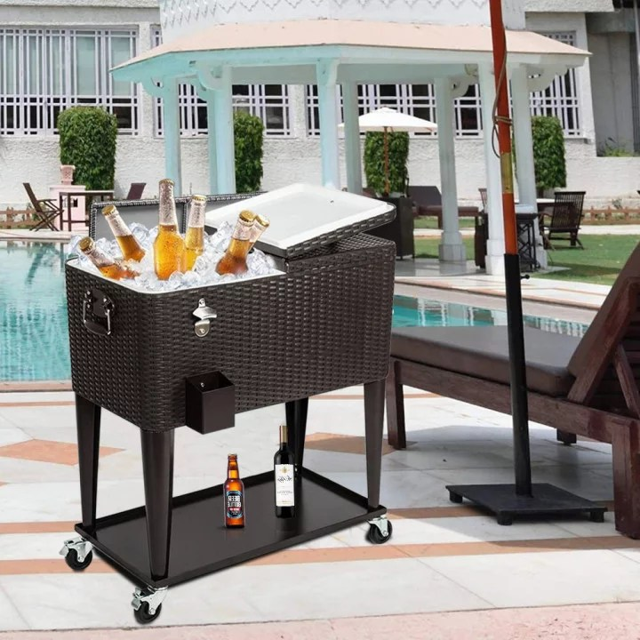 80 quart rattan rolling cooler cart portable wicker cooler trolley beverage for patio pool party ice chest on wheels with shelf bottle opener