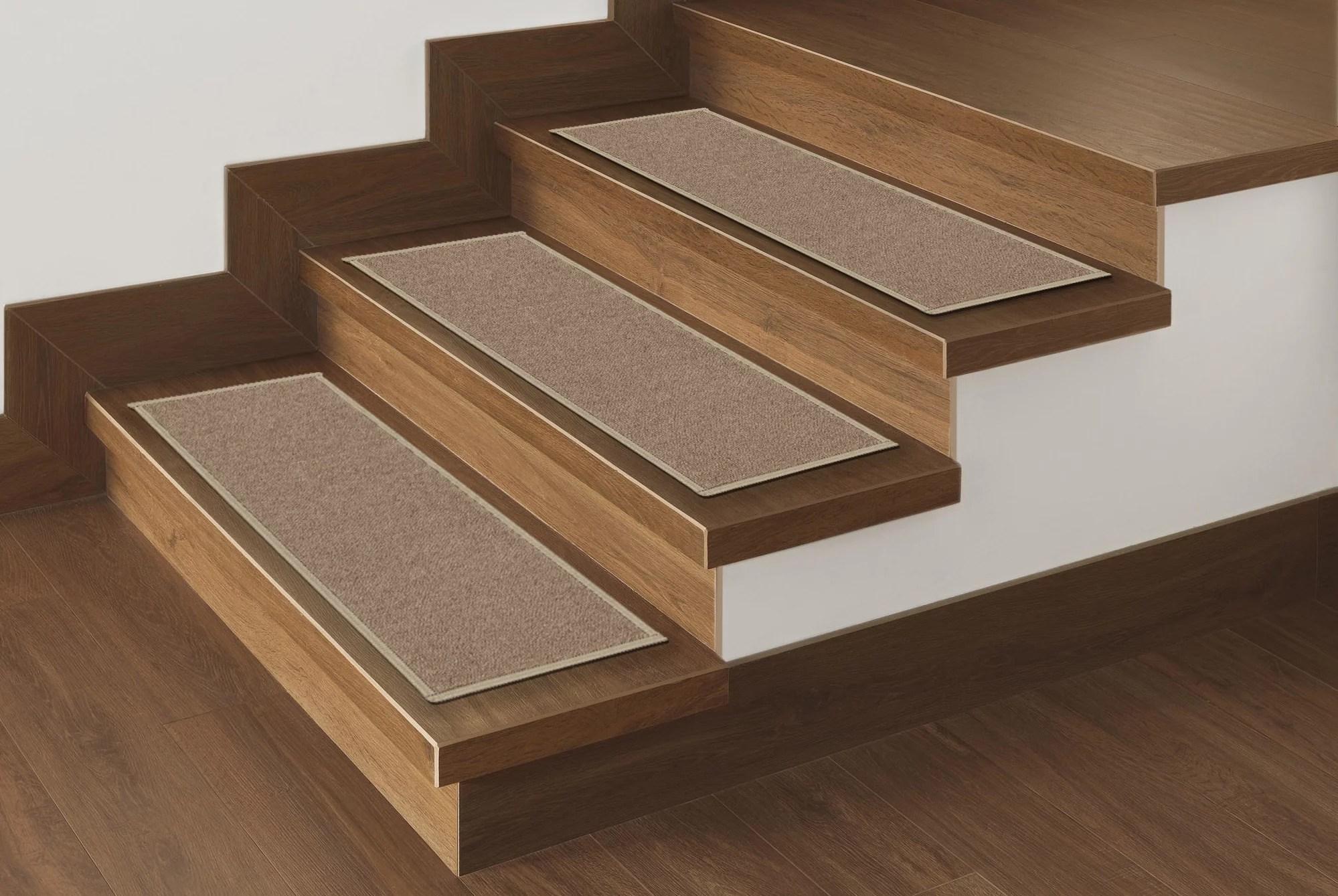 Ottomanson Non Slip Rubber Backing Stair Tread Dark Beige 8 5 X | Dark Carpet On Stairs | Gray | Monochrome | Wall | Modern | Metal Bar On Stair