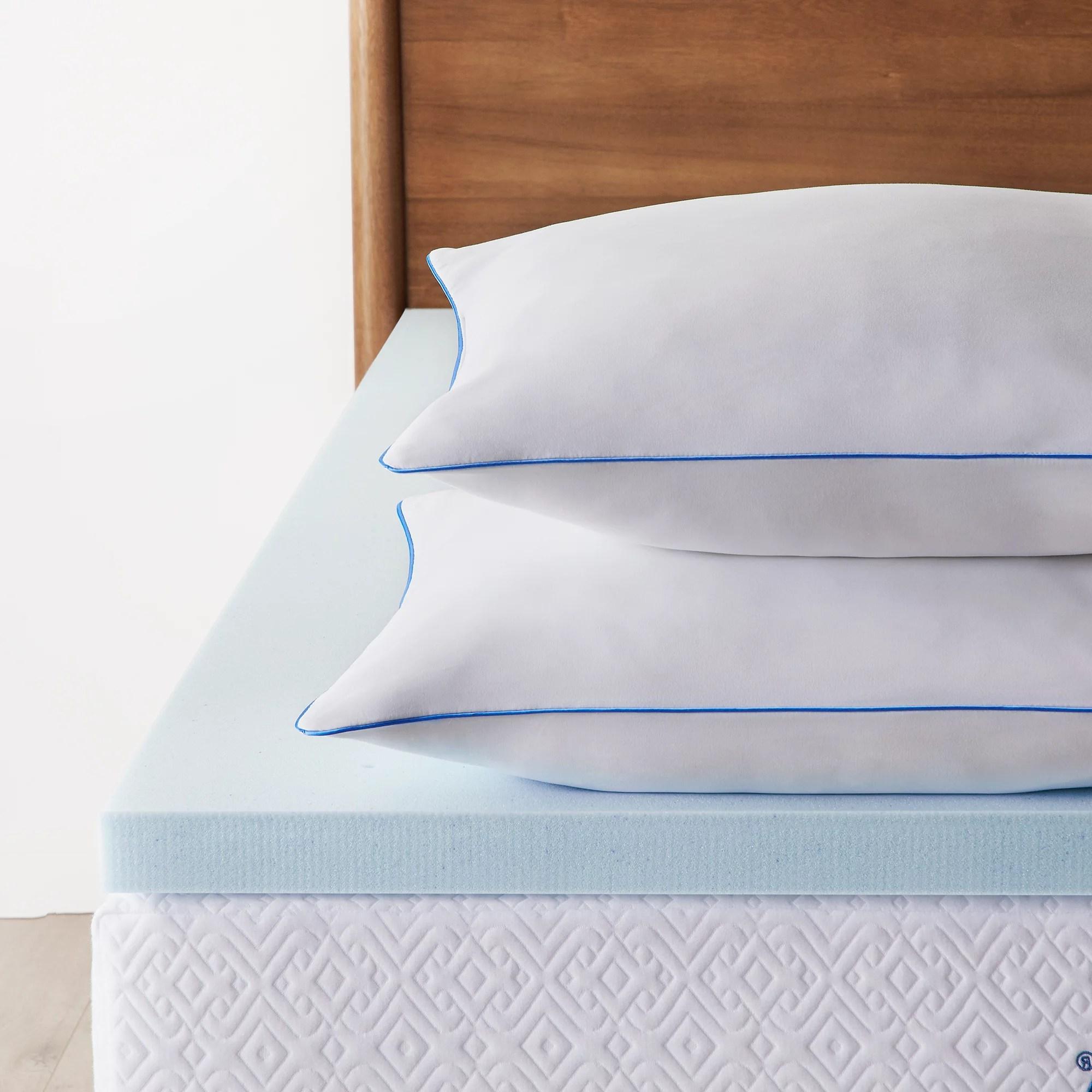 lucid 2 inch gel memory foam topper and 2 pack shredded memory foam pillow walmart com