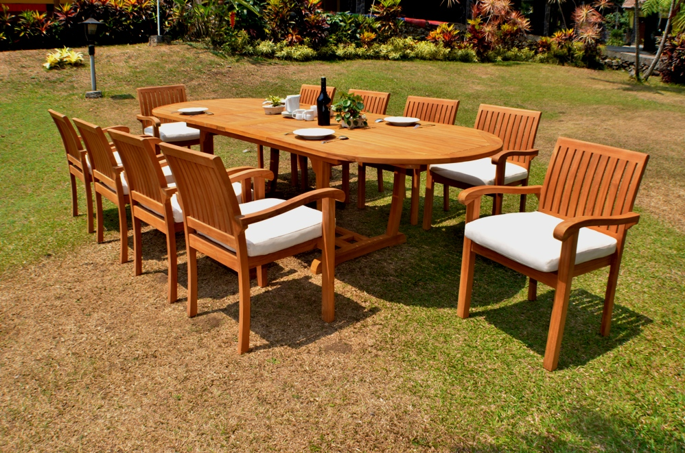 "Teak Dining Set:10 Seater 11 Pc -118"" Mas Oval Table"