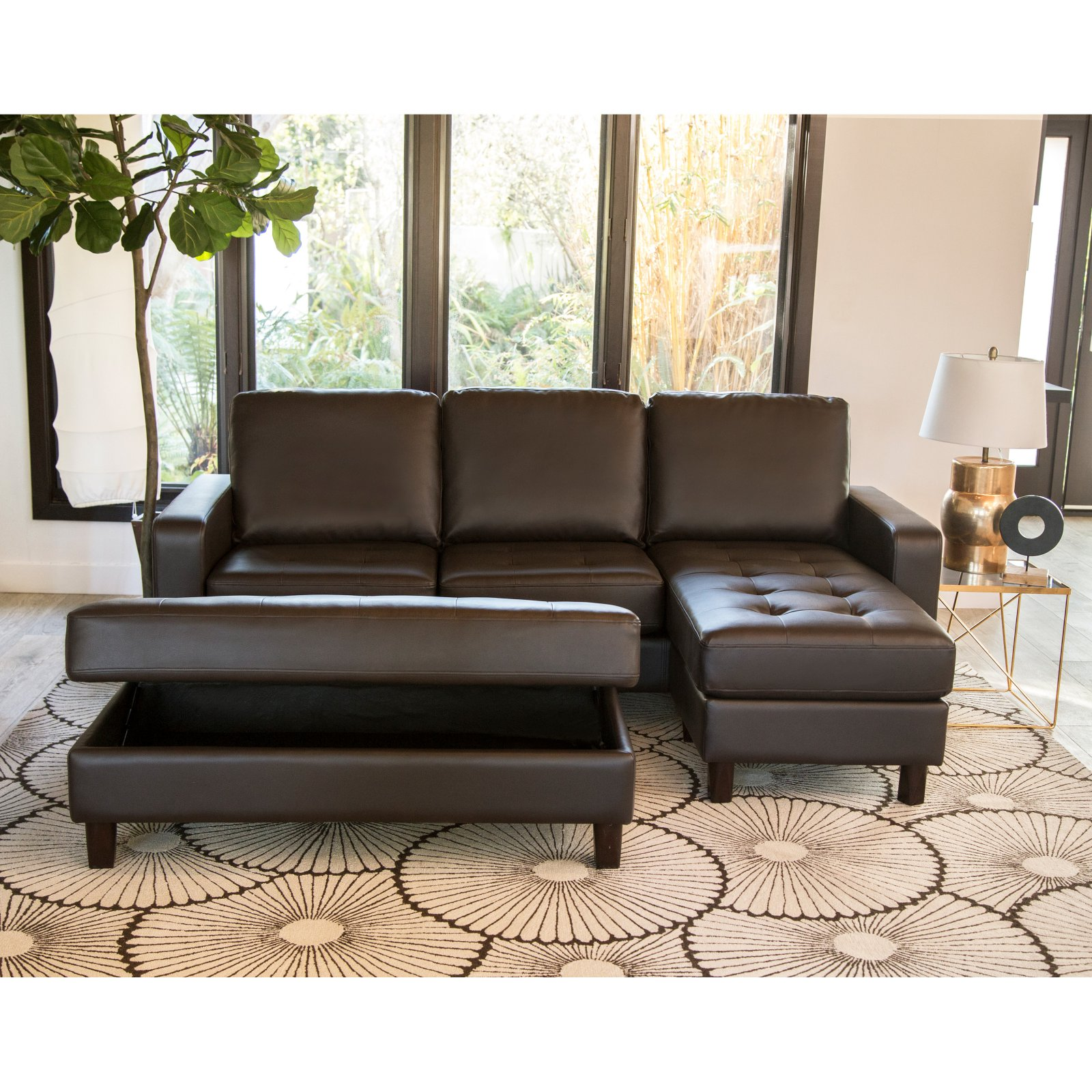 abbyson magnolia tufted leather reversible sectional sofa with ottoman