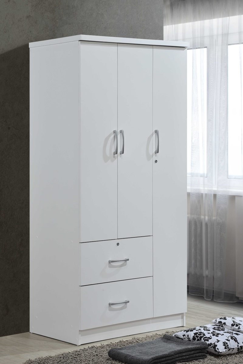 hodedah 3 door bedroom armoire with drawers white finish