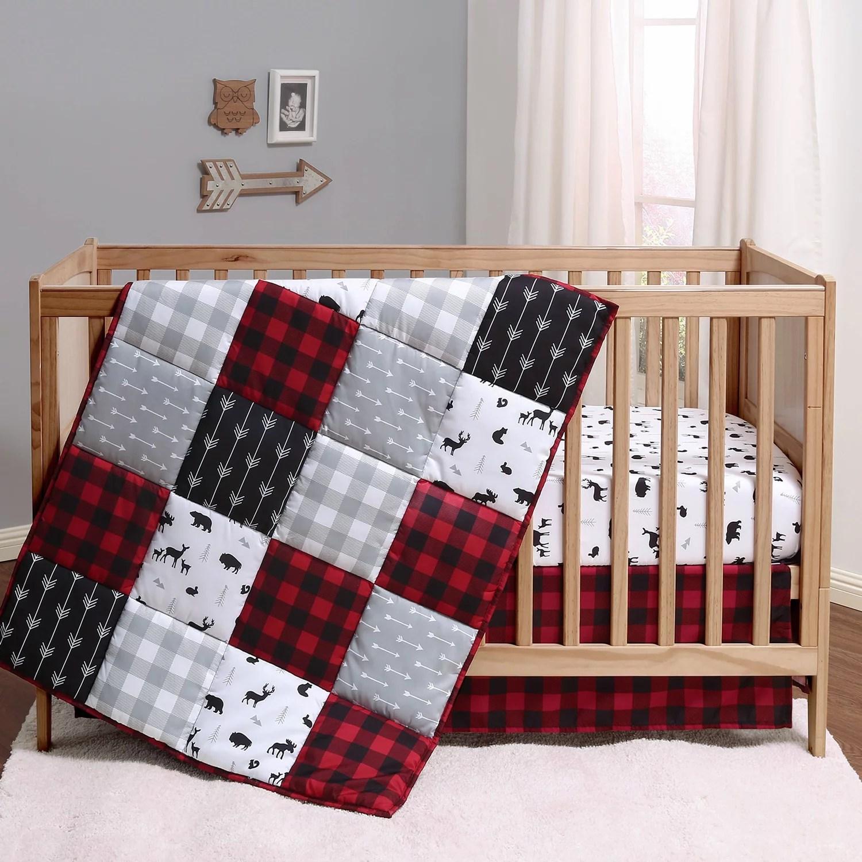 the peanutshell buffalo plaid crib bedding set crib comforter crib sheet crib skirt in black red white grey walmart com