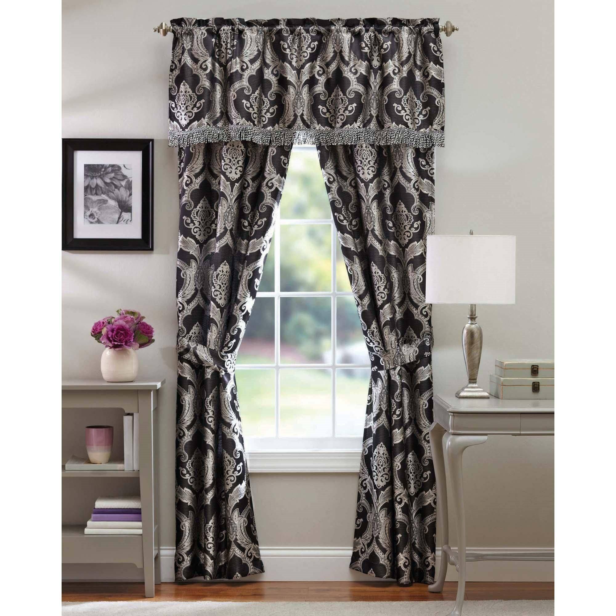 better homes and gardens brocade jacquard 5 piece curtain panel set