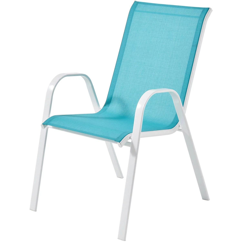 mainstays outdoor patio sling mesh chair stackable aqua