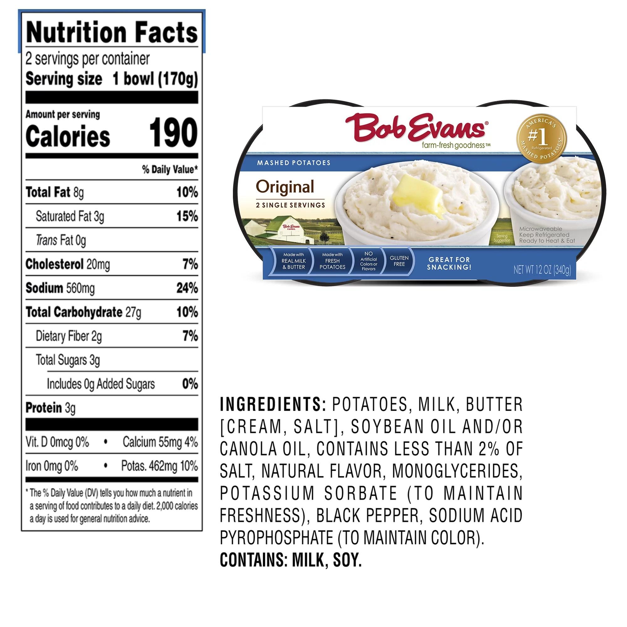 bob evans original mashed potatoes single serving twin cups 12 oz pack of 1