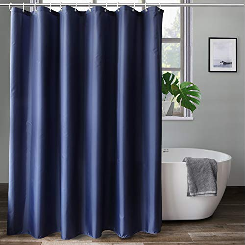 aoohome solid navy blue shower curtain fabric weighted hem shower liner with hooks reinforced metal grommets waterproof 72x75 inch
