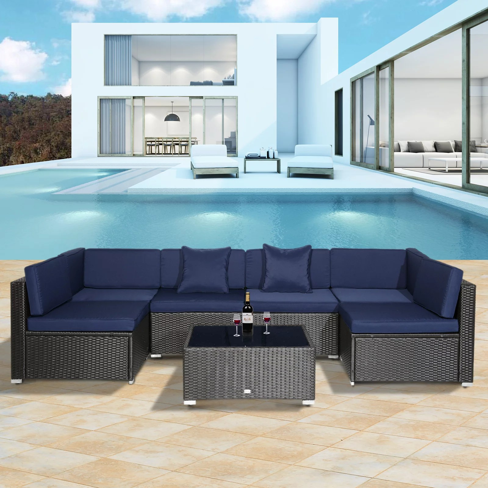 outsunny 7 piece patio wicker sofa set sectional rattan outdoor furniture with blue cushions