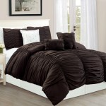 Wpm 7 Piece Royal Chocolate Brown Ruched Comforter Set Elegant Bed In A Bag Luxurious King Size Bedding Walmart Com Walmart Com