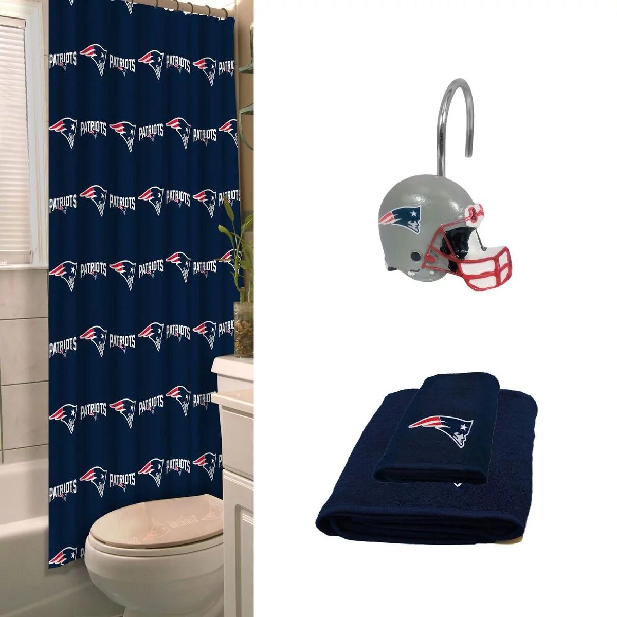 new england patriots bath set with hand bath towel shower curtain hooks