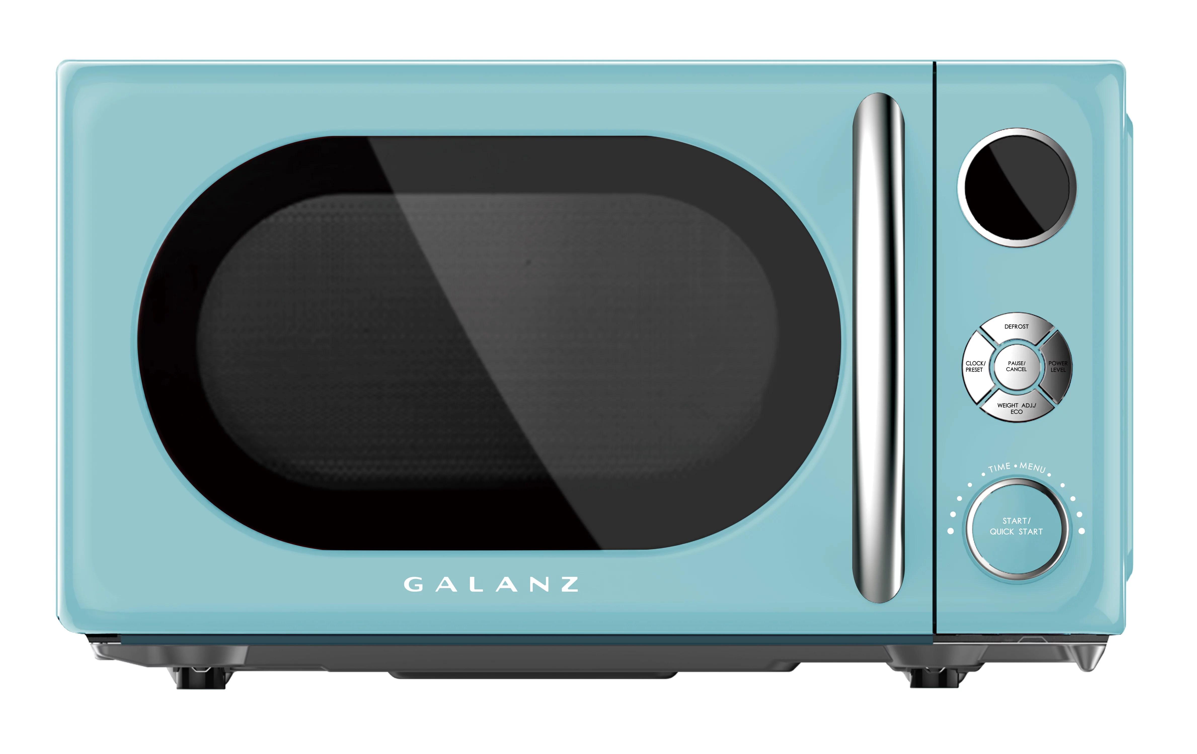 galanz glcmka07ber 07 0 7 cu ft retro countertop microwave 700w blue
