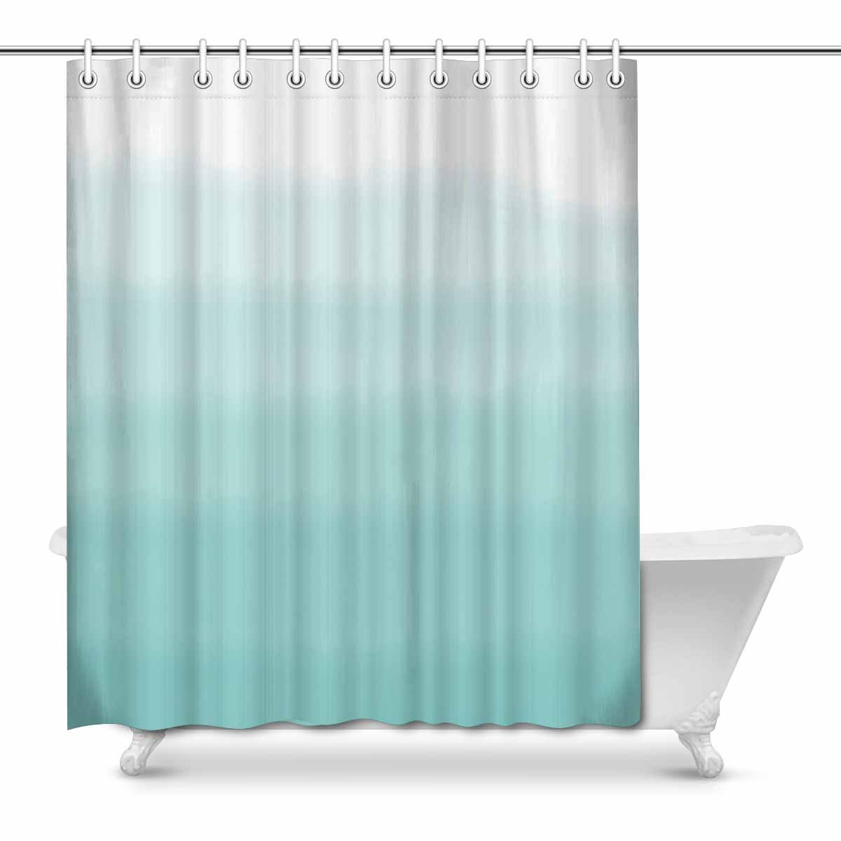 yusdecor abstract turquoise green ombre gradient watercolor waterproof shower curtain decor fabric bathroom set 66x72 inch