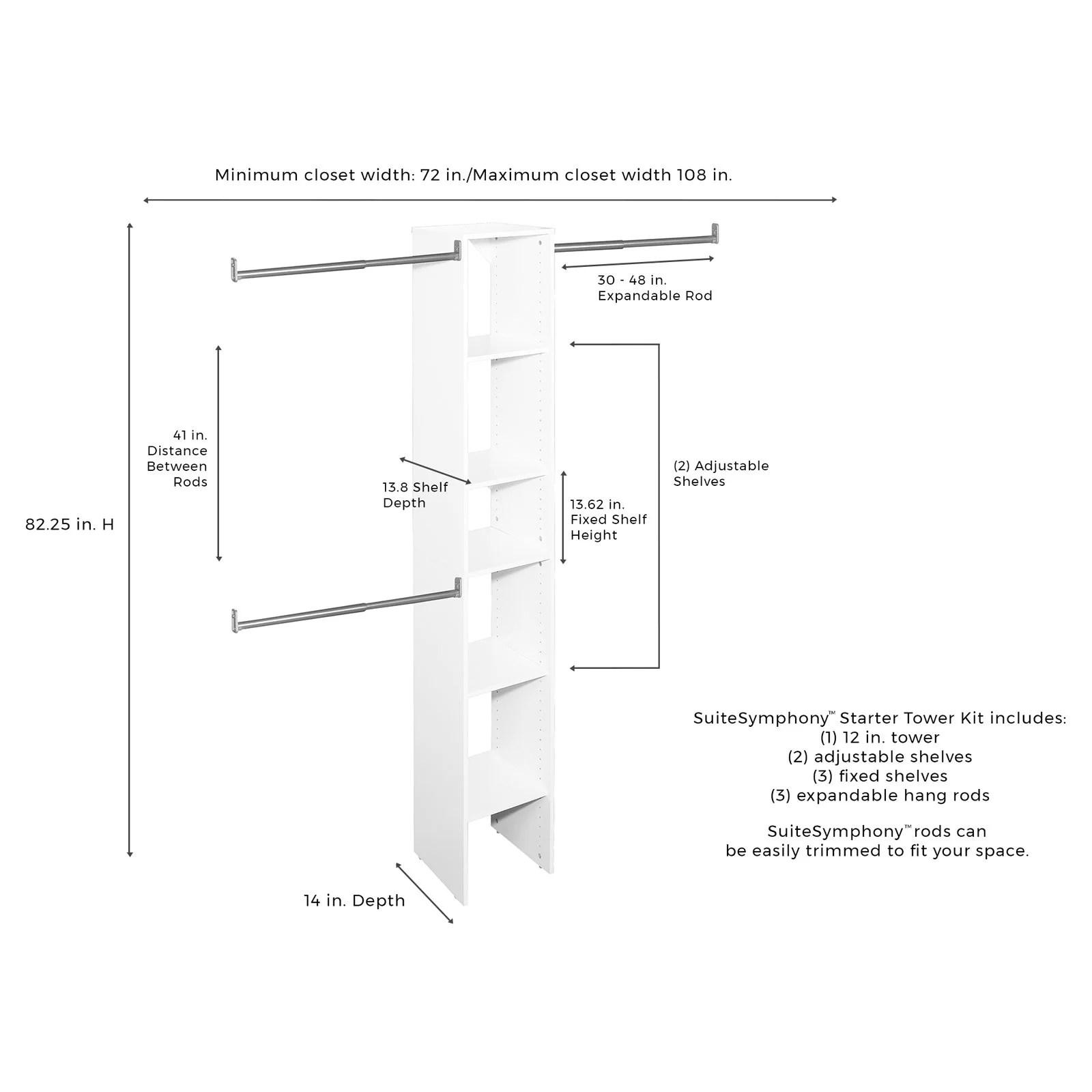Closetmaid Suitesymphony 12 In Tower Starter Kit Walmart Com