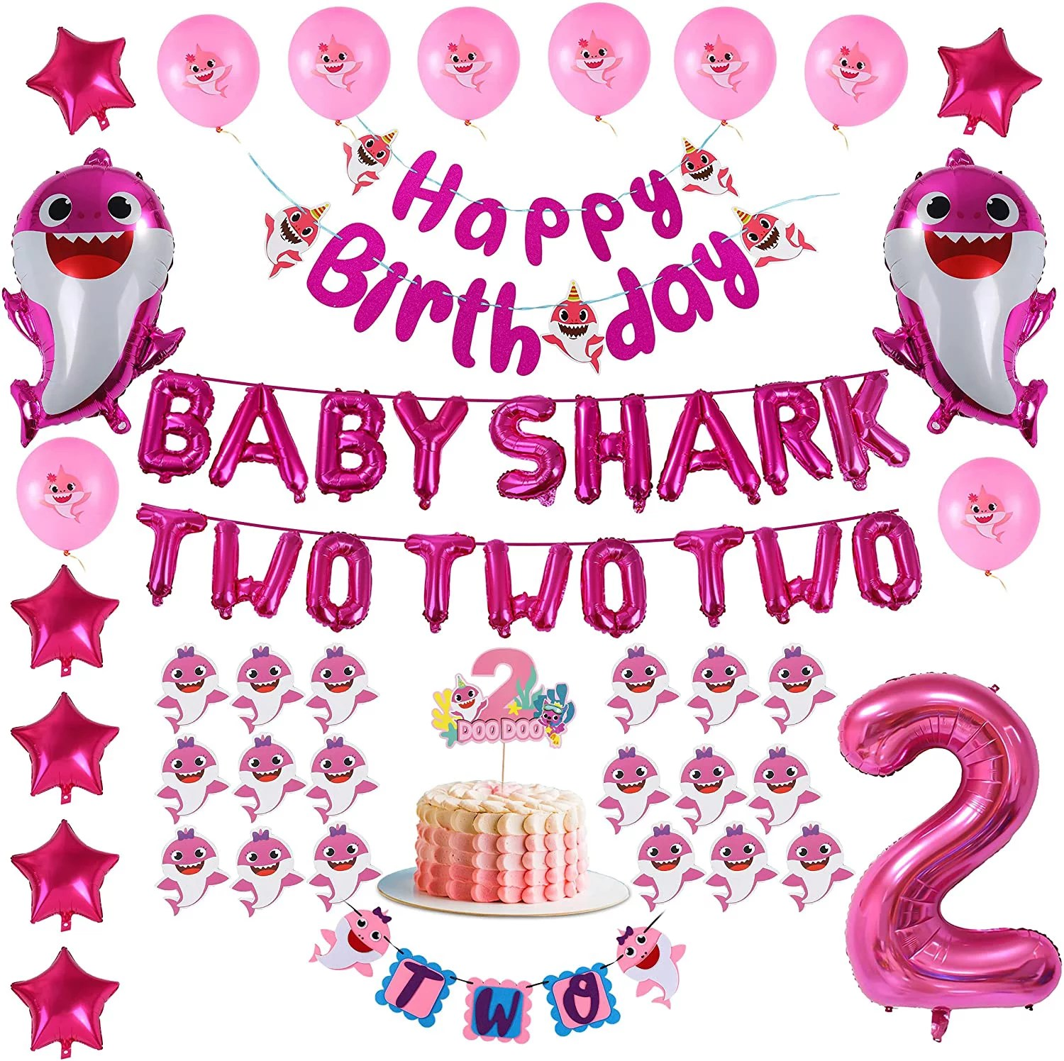 2nd Birthday Baby Shark Decorations Theme For Girl Pink Baby Shark Two Two No 2 Foil Balloons Cake Cupcake Toppers Walmart Com Walmart Com