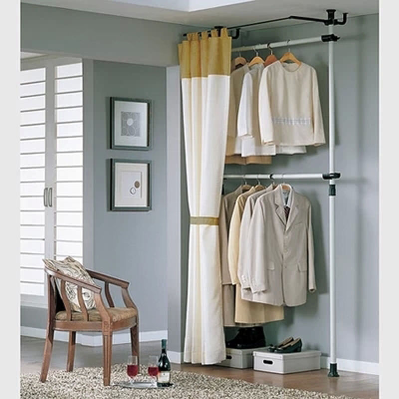 closet organizer rack storage clothes wardrobe with curtain and track