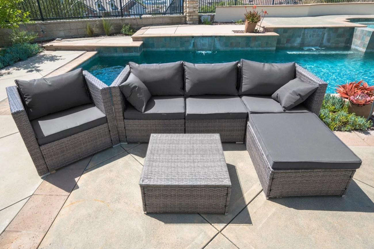 belleze 6 pc outdoor patio furniture wicker rattan sofa table cushion water resistant set walmart com